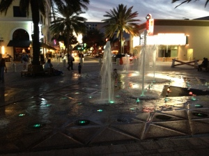 Fountain in Park during 'Clematis by Night' celebration